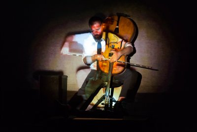 """Cellist Kevin McFarland as he appeared in """"Run Time Error"""" (September 17, 2015)(Photo credit: Karli Cadel)"""