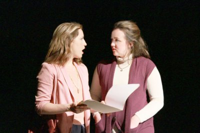 """Margy Love and Catie Humphreys in a scene from """"The Black Book"""" (Photo credit: Andrew Zeiter)"""