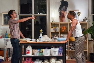 """Devin Norik and Korey Jackson in a scene from """"Sex of the Baby"""" (Photo credit: Russ Rowland)"""