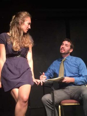 """Cleo Handler and Joshua Schwartz in a scene from Rebecca Gilman's """"Blue Surge"""" (Photo credit: Miah Gonzales)"""