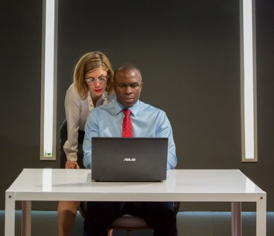 "Susannah Flood and Gbenga Akinnagbe in a scene from Thomas Bradshaw's ""Fulfillment"" (Photo credit: Hunter Canning)"