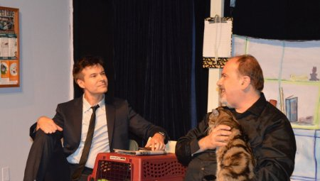 "John Carhart and Tony Marinelli in a scene from ""Be That Guy (A Cat and Two Men)"" (Photo credit: Ryan Rep Staff)"