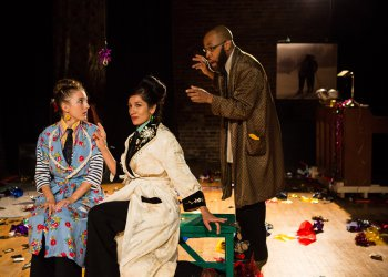 "Clare Barron, Purva Bedi and Ugo Chukwu in a scene from Gertrude Stein's ""Reread Another"" (Photo credit: Marina McClure)"