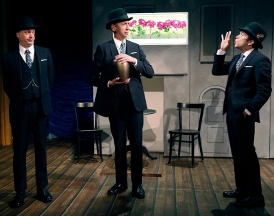"Daniel Jenkins, Jay Russell and Thomas Jay Ryan in a scene from ""Travels with My Aunt"" (Photo credit: Carol Rosegg)"