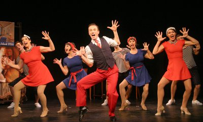 """Elliot Marach, Katie Mcbane Harvey, Samantha Gershman, Nic Thompson, Meghan Glogower and Sarah Claire Smith as the perform Gershwins' """"Clap Yo' Hands"""" number in the Musicals Tonight! revival of """"Oh, Kay!"""" (Photo credit: Michael Portaniere)"""