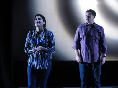 """Ivette Dumeng and Ben Gougeon in a scene from """"Half Moon Bay"""" (Photo credit: Jonathan Slaff)"""