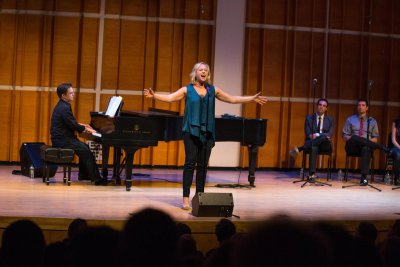 Sally Wilfert as she sang her medley of songs at in Broadway Close Up: William Finn (Photo credit: David Andrako)