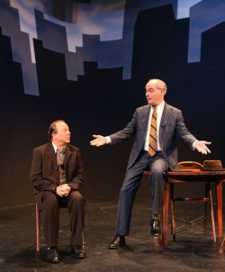 "Avi Hoffman as Willy and Shane Baker as Charley in a scene from ""Death of a Salesman"" in Yiddish  (Photo credit: Ronald L. Glassman)"