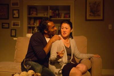 "Amar Srivastava and Suzie Cho in a scene from The Full Spectrum Theatre Company's revival of ""Rabbit Hole"" (Photo credit: Daniel Hurtado)"