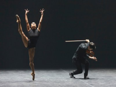 "ABT prima ballerina Misty Copeland and violinist Charles Yang in Marcelo Gomes's ""Paganini"" (Photo credit: Richard Termine)"