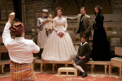 """Sean Dugan (back to camera), Izzie Steele, Chris Perfetti, Clarke Thorell, Brooke Bloom (seated) and Lucy Owen in a scene from """"Cloud Nine"""" (Photo credit: Doug Hamilton)"""