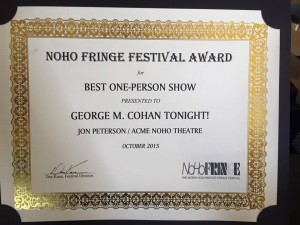 Award for George M. Cohan Tonight