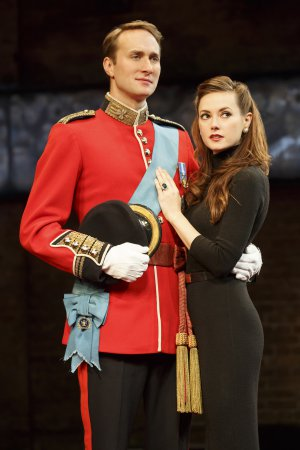 "Oliver Chris as Prince William and Lydia Wilson as Princess Kate in a scene from ""King Charles III""(Photo credit: Joan Marcus)"