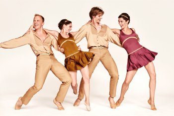 """Daniel Baker, Ramona Kelley, Nicholas Coppula and Eva Trapp-Coppula in a scene from """"Preludes and Fugues"""" with costumes by Santo Loquasto, part of Twyla Tharp 50th Anniversary (Photo credit: Ruven Afanador)"""