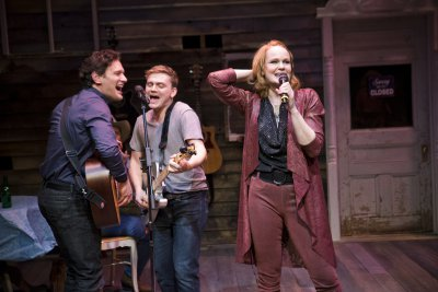 """Eric William Morris, Adam Cochran and Kate Baldwin in a scene from """"Songbird""""(Photo credit: Jenny Anderson Photography)"""