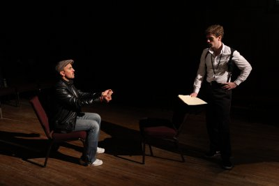 """Nehal Joshi and Brennan Caldwell in a scene from """"Who's Your Baghdaddy? Or How I Started the Iraq War"""" (Photo credit: Jeremy Daniels)"""
