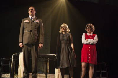 """Peter Kendall Clark, Kate Oberbat and Martha Guth in a scene from """"Glory Denied"""" (Photo credit: Robert J. Saperstein)"""