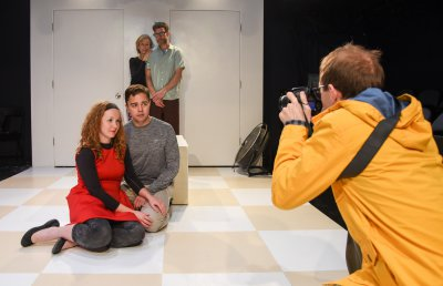 "Shawna Cormier, Jeremiah Maestas, Maggie Low, Roger Manix and Josh Tobin in a scene from ""Gluten!"" (Photo credit: Russ Rowland)"