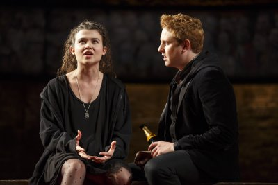 "Tafline Steen as Jess and Richard Goulding as Prince Harry in a scene from ""King Charles III"" (Photo credit: Joan Marcus)"