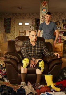 "Daniel Oreskes and Cameron Scroggins in a scene from ""Hir"" (Photo credit: Joan Marcus)"