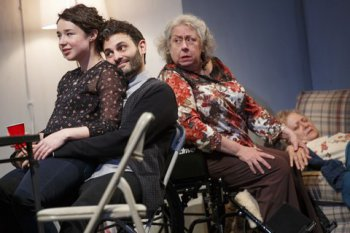 "Sarah Steele, Arian Moayed and Jayne Houdyshell in a scene from ""The Humans"" (Phto credit: Joan Marcus)"