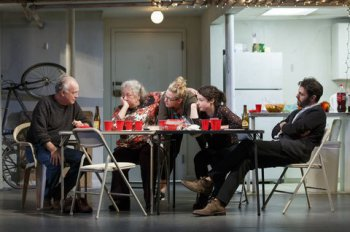 """Reed Birney, Jayne Houdyshell, Cassie Beck, Sarah Steele and Arian Moayed in a scene from """"The Humans"""" (Photo credit: Joan Marcus)"""