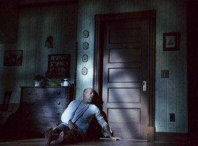 """Bruce Willis as Paul Sheldon in a scene from """"Misery"""" at the Broadhurst Theatre (Photo credit: Joan Marcus)"""