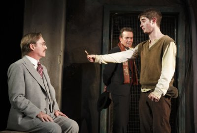 """Richard Thomas, Derek Smith and Jonathan Gordon in a scene from """"Incident at Vichy"""" (Photo credit: Joan Marcus)"""