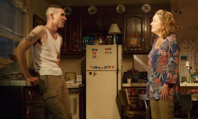 """Cameron Scroggins and Kristine Nielsen in a scene from """"Hir"""" (Photo credit: Joan Marcus)"""
