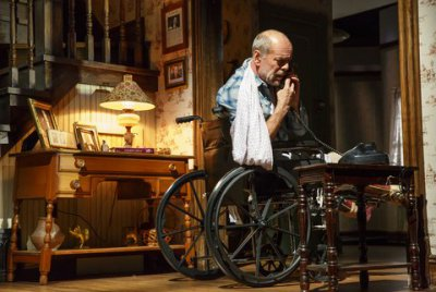 """Bruce Willis as Paul Shelden in a scene from """"Misery"""" at the Broadhurst Theatre (Photo credit: Joan Marcus)"""