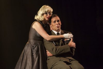 """Kate Oberjat and Peter Kendall Clark in a scene from """"Glory Denied"""" (Photo credit: Robert J. Saperstein)"""