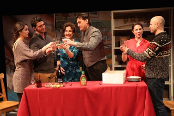 "Jenna D'Angelo, Dominick La Ruffa, Jr., Joanna Bonaro, Ribert Funaro, Lauren Nicole Cipoletti and Christian Thom in a scene from ""How Alfo Learned to Love"" (Photo credit: Carol Rosegg)"