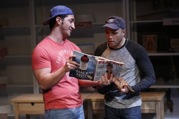 "Christian Thom and Dominick La Ruffa, Jr. in a scene from ""How Alfo Learned to Love"" (Photo credit: Carol Rosegg)"