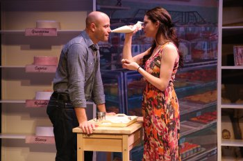 "Christian Thom and Lauren Nicole Cipoletti in a scene from ""How Alfo Learned to Love"" (Photo credit: Carol Rosegg)"