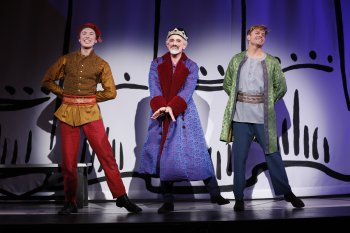 "Cory Lingner, David Greenspan and Hunter Ryan Herdlicka in a scene from ""Once Upon a Mattress"" (Photo credit: Carol Rosegg)"