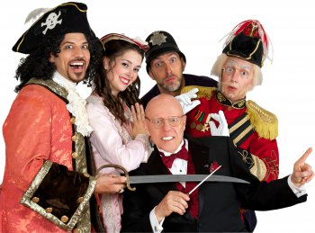 "David Wannen, Sarah Caldwell Smith, David Auxier, James Mills and conductor Albert Bergeret (seated) in a scene from ""The Pirates of Penzance"" (Photo credit: William Reynolds)"