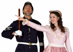 "David Auxier as the Sergeant of Police and Sarah Caldwell Smith as Mabel in a scene from ""The Pirates of Penzance"" (Photo credit: William Reynolds)"