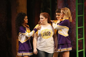 "Kalyn West, Ryann Redmond, Jennifer Geller and Taylor Louderman in a scene from ""Gigantic"" (Photo credit: Carol Rosegg)"