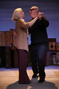"Ellen McLaughlin as Elizabeth Bishop and Rinde Eckert as Robert Lowell in ""Dear Elizabeth"" by Sarah Ruhl (Photo credit: Joan Marcus)"