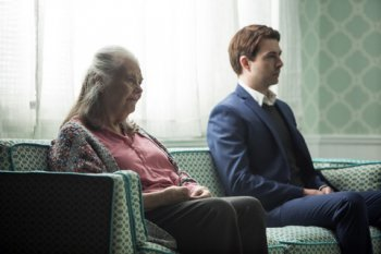 "Noah Bean and Lois Smith in a scene from ""Marjorie Prime"" (Photo credit: Jeremy Daniel)"