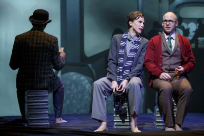 "Michael Frederic, Christa Scott-Reed and Joel Rainwater in a scene from ""The Great Divorce"" (Photo credit: Joan Marcus)"