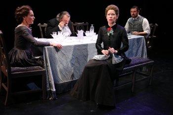 """Giselle Wolf, Brad Fryman, Barbra Wengerd and John Pasha in a scene from Thornton Wilder's """"The Long Christmas Dinner"""" (Photo credit: Carol Rosegg)"""