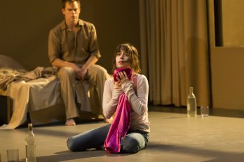 "Michael C. Hall and Cristin Milioti in a scene from ""Lazarus"" at New York Theatre Workshop (Photo credit: Jan Versweyveld)"