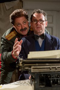 "Ross DeGraw as Joseph Stalin and Brian J. Carter as Mikhail Bulgakov in a scene from John Hodge's ""Collaborators"" (Photo credit: Michael Abrams)"