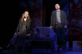 """Kate Arrington and Greg Keller in a scene from """"Our Mother's Brief Affair"""" (Photo credit: Joan Marcus)"""