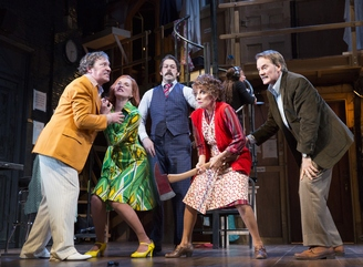"Jeremy Shamos, Kate Jennings Grant, David Furr, Andrea Martin and Campbell Scott in a scene from ""Noises Off"" (Photo credit: Joan Marcus)"
