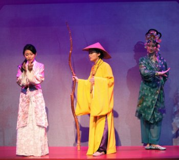 """Kelsey Wang, E.J. An and Mandarin Wu in a scene from Pan Asian Repertory Theatre's production of """"A Dream of Red Pavilions"""" (Photo credit: George Quincey Lee)"""