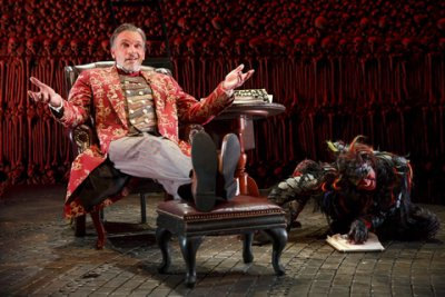 "Brent Harris and Shiloh Goodin in a scene from ""The Screwtape Letters"" (Photo credit: Joan Marcus)"