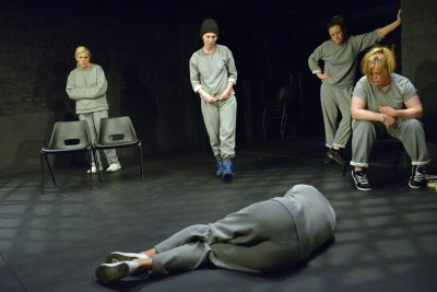 "Judi Earl, Jessica Johnson, Cheryl Dixon (on floor), Christina Berriman Dawson and Victoria Copeland in a scene from ""Key Change"" (Photo credit: Keith Pattison)"