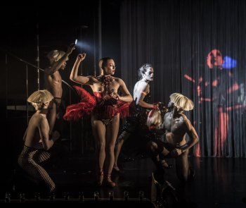"""Hilly Bodin as Snow White (center), Laura Careless as The Queen (second from right), and the the cast of Company XIV's """"Snow White"""" (Photo credit: Mark Shelby Perry)"""